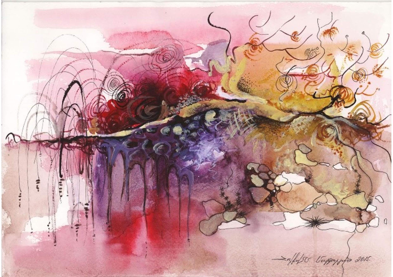 Impression, Mixed media on paper, 21 x 30 cm