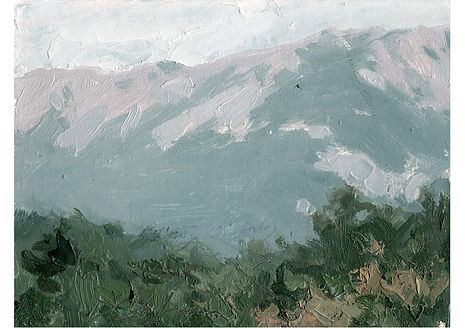 Mountains, Oil on cardboard, 15.5 x 21.5 cm