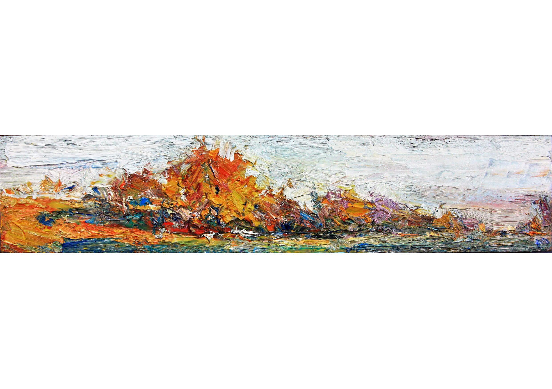 Walnut Trees, Oil on canvas, 15 x 50 cm