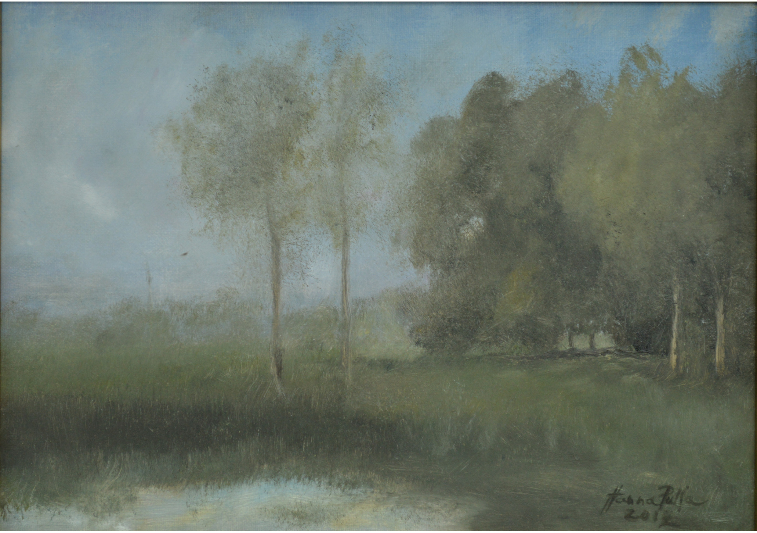 The Pond, Oil on canvas, 19 x 27 cm