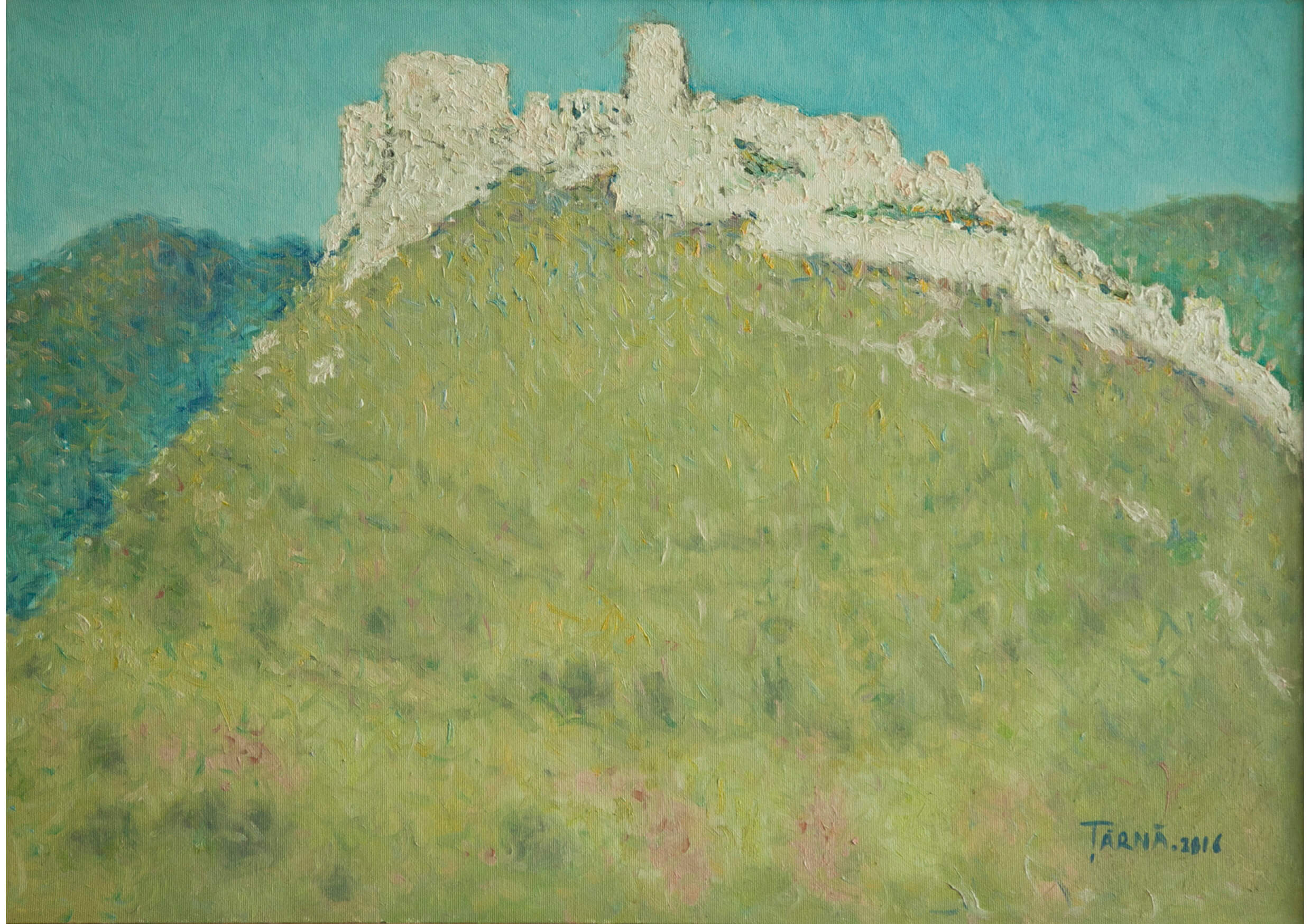 Spisska Hrad Slovakia, Oil on canvas, 50 x 70 cm