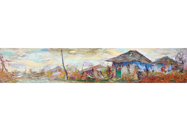 Twlight, Oil on canvas, 17 x 92 cm