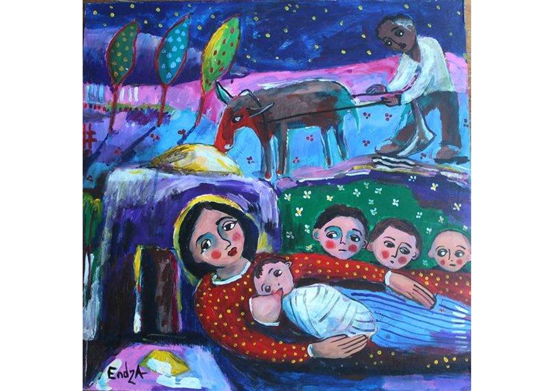 The family, Oil on canvas, 50 x 50 cm