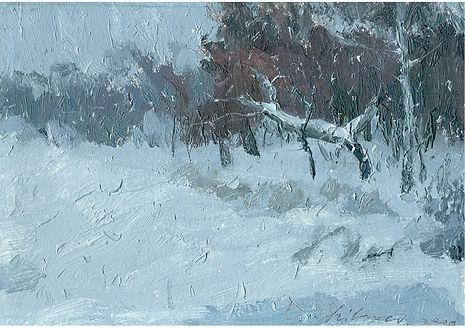 Winter forest, Oil on cardboard, 15 x 22 cm