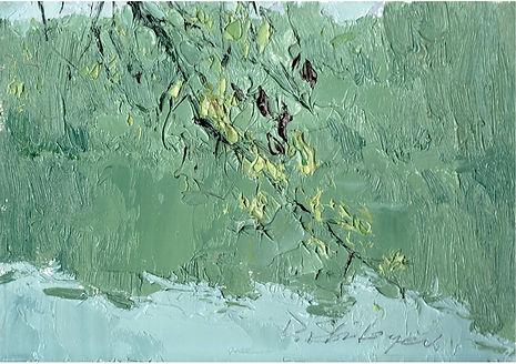 Swinging Branch, Oil on cardboard, 15.5 x 21.5 cm