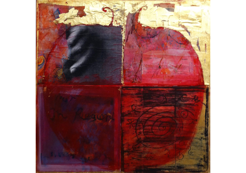 Pomegranite II, Mixed media on canvas, 80 x 80 cm