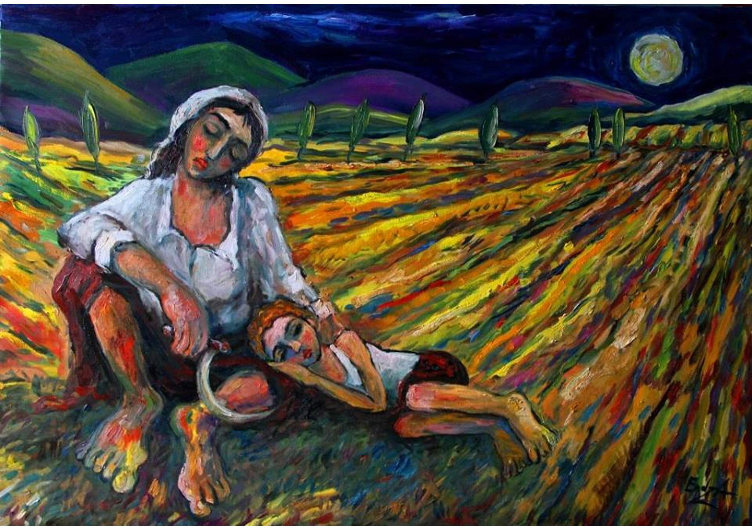 In the field, Oil on canvas, 70 x 100 cm
