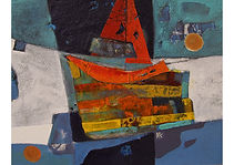 Red Yacht, Mixed media on canvas, 27 x 35 cm
