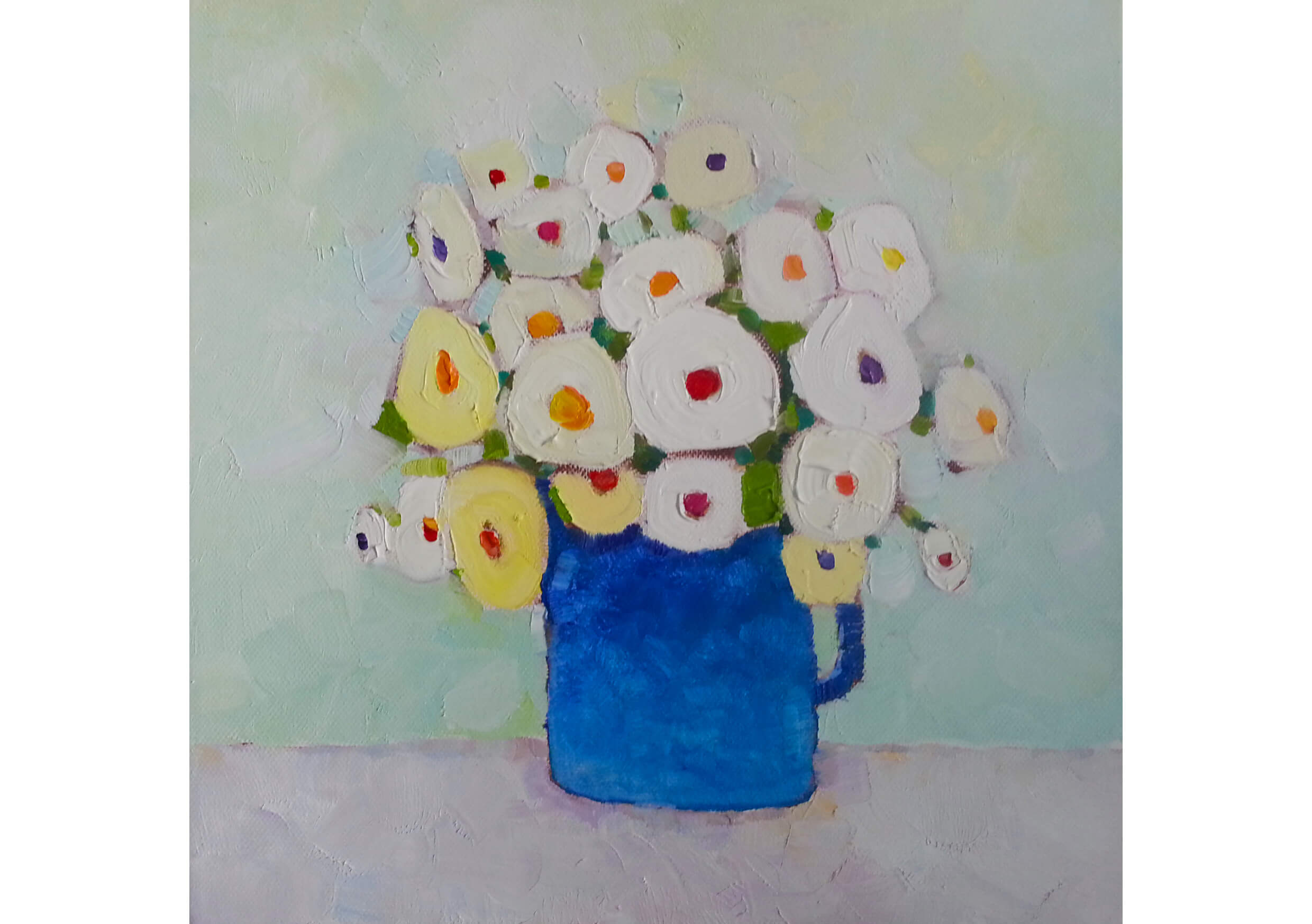 White Flowers, Oil on canvas, 30 x 30 cm