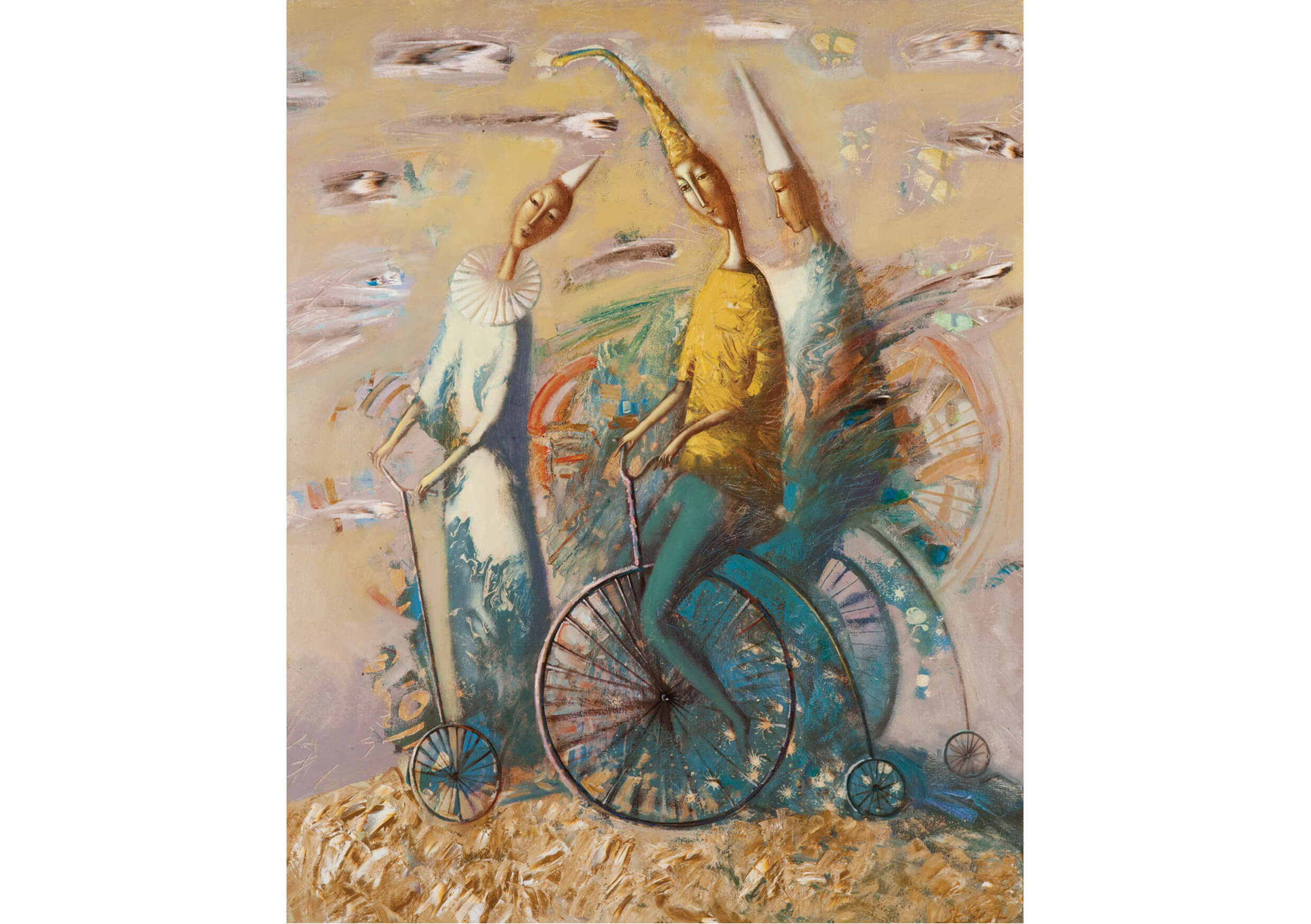 Bicycles, Mixed media on canvas, 100 x 80 cm