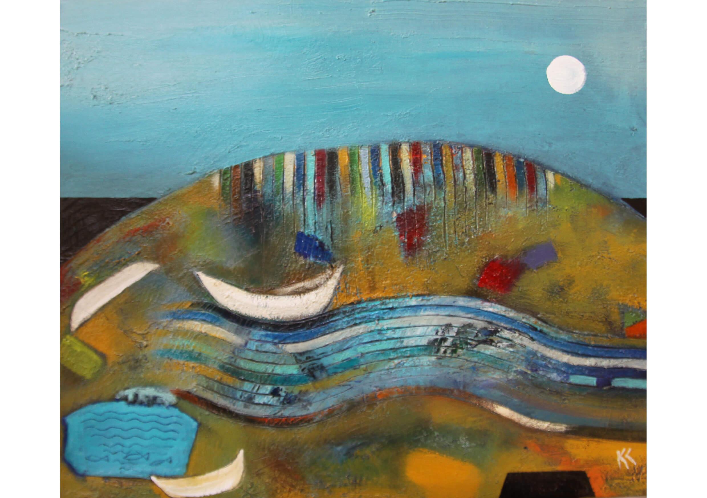 Series White Moon II, Mixed media on canvas, 50 x 60 cm