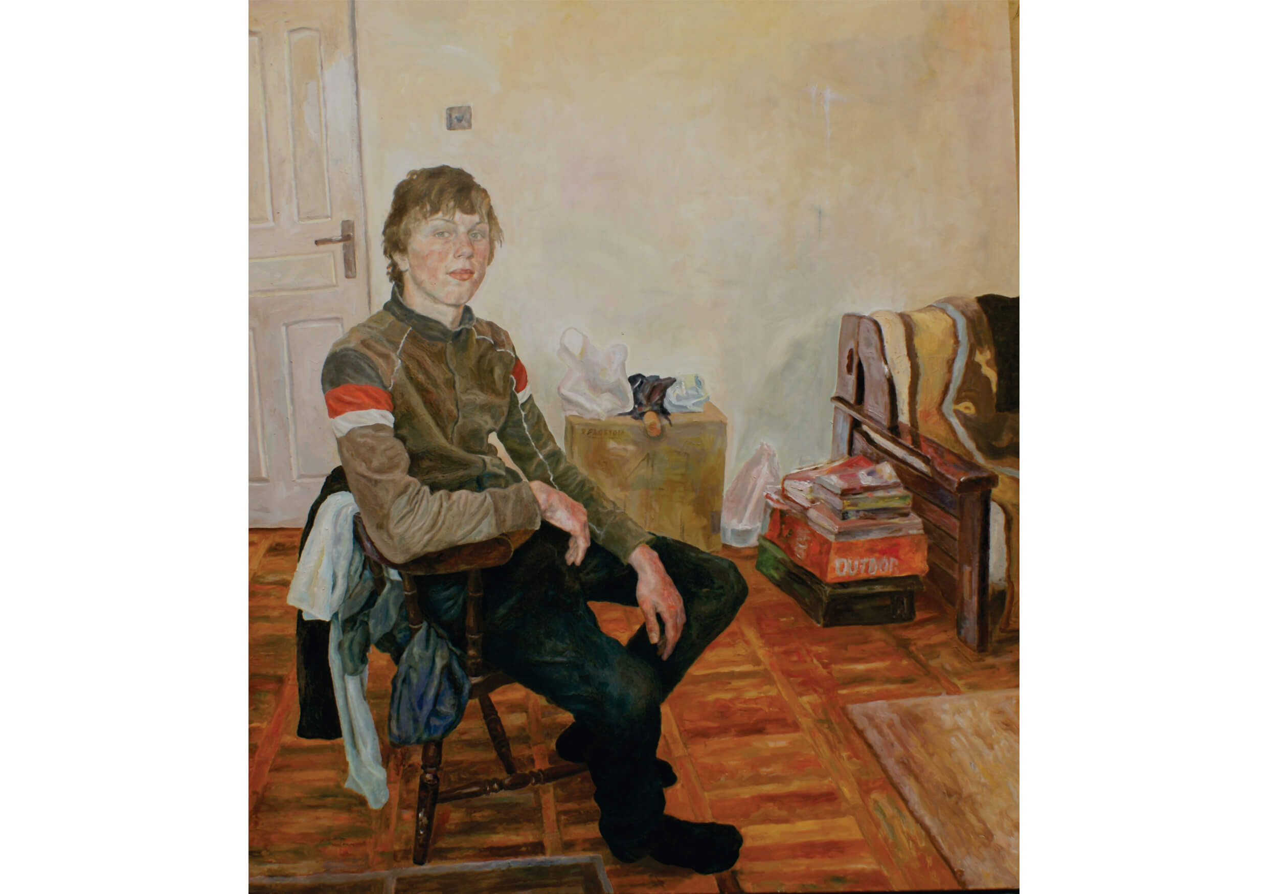 Young man in his room, Oil on canvas, 150 x 130 cm