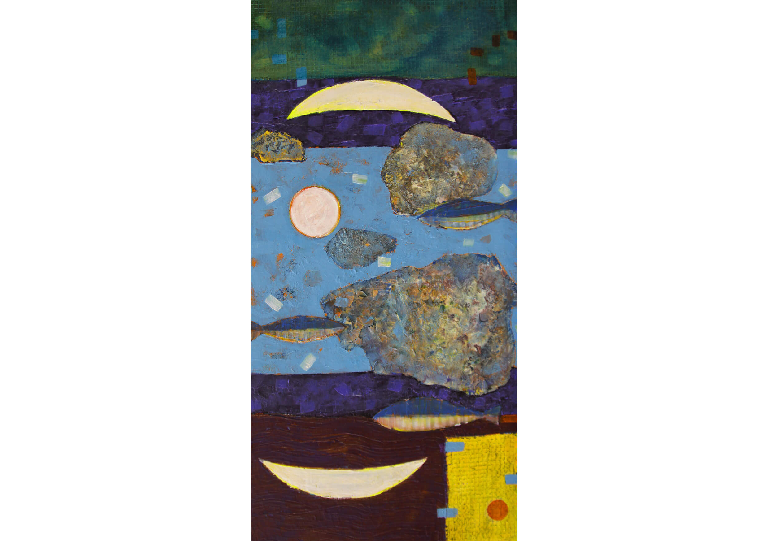 Series White Moon III, Mixed media on canvas, 80 x 40 cm