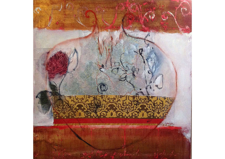 Pomegranite I, Mixed media on canvas, 80 x 80 cm