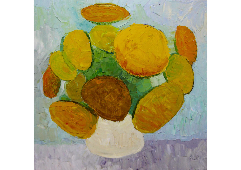 Sun Flowers, Oil on canvas, 60 x 60 cm