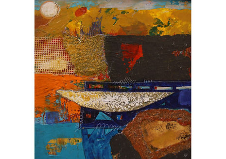 Before Fishing, Mixed media on canvas, 24 x 24 cm