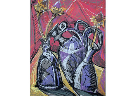 Three Jars, Pastel, 100 x 80 cm