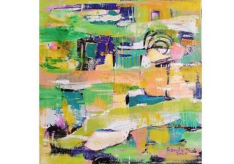 Life sparkles, acrylic on canvas,  40x40cm, 2020