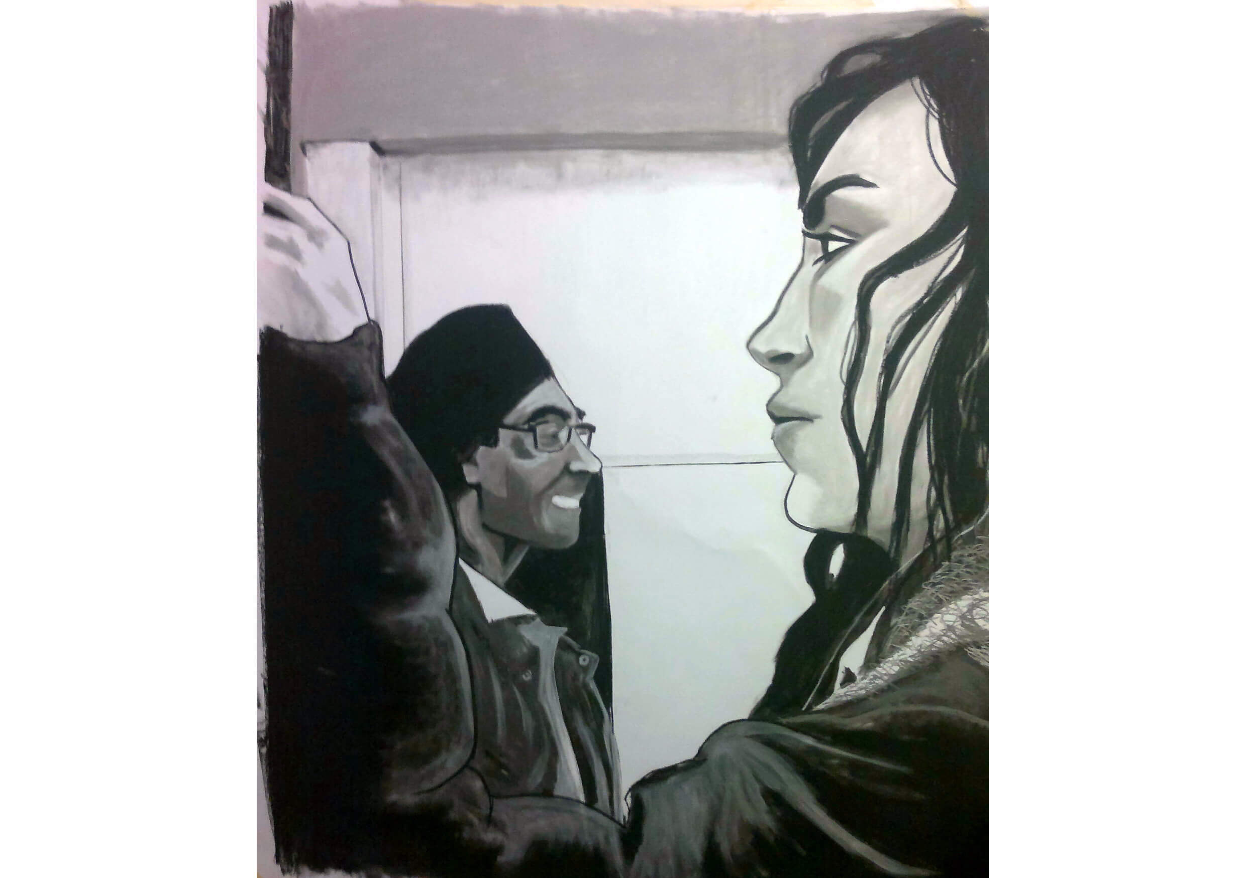 Charcoal People, Charcoal and chalk on paper, 200 x 150 cm