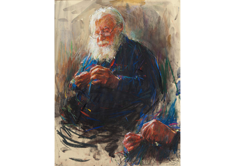 Archimandrite Hrisamf, Watercolour & Pastel on paper, 65 x 50 cm
