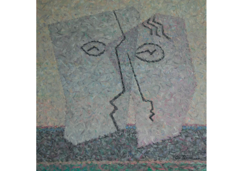 Frozen Faces, Oil on canvas, 85 x 85 cm