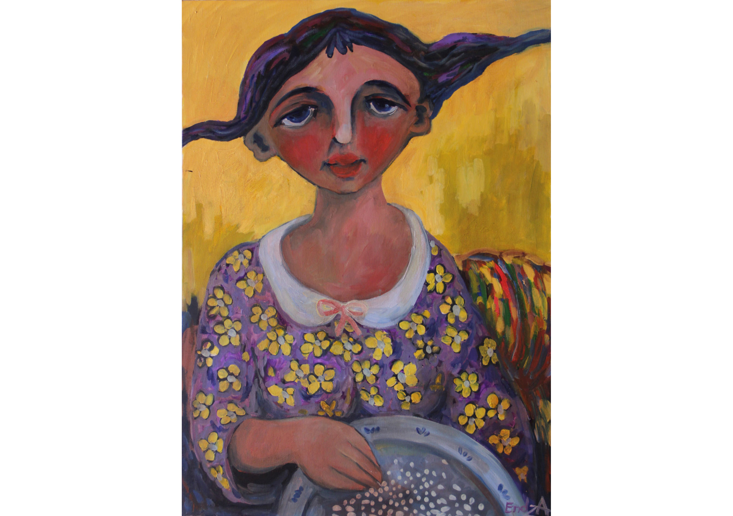 Rice cleaning girl, Oil on canvas, 50 x 70 cm