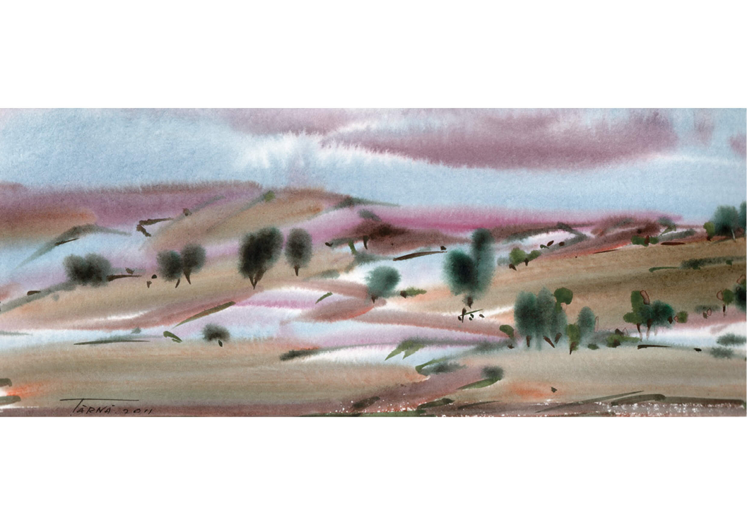 An Opening, Watercolour on paper, 12 x 41 cm