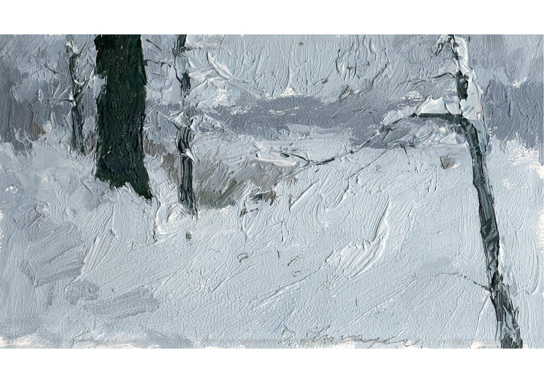 Winter fairy tale, Oil on cardboard, 12.5 x 22 cm