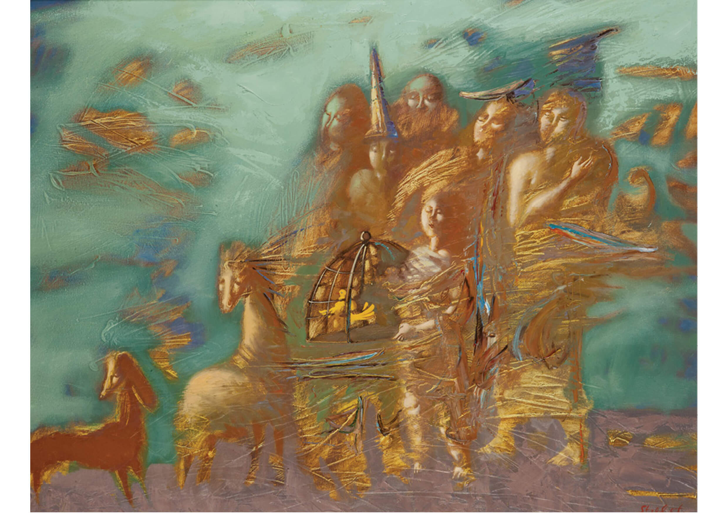 The riders, Mixed media on canvas, 70 x 90 cm