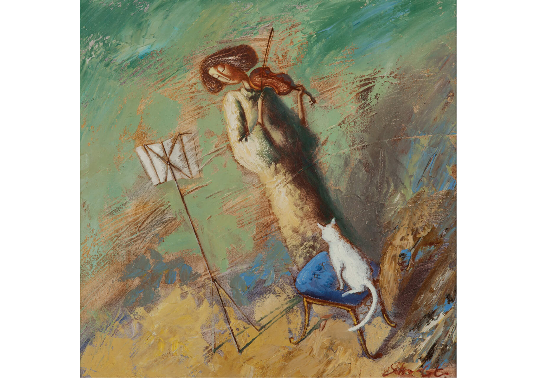 The artist, Mixed media on canvas, 45 x 45 cm
