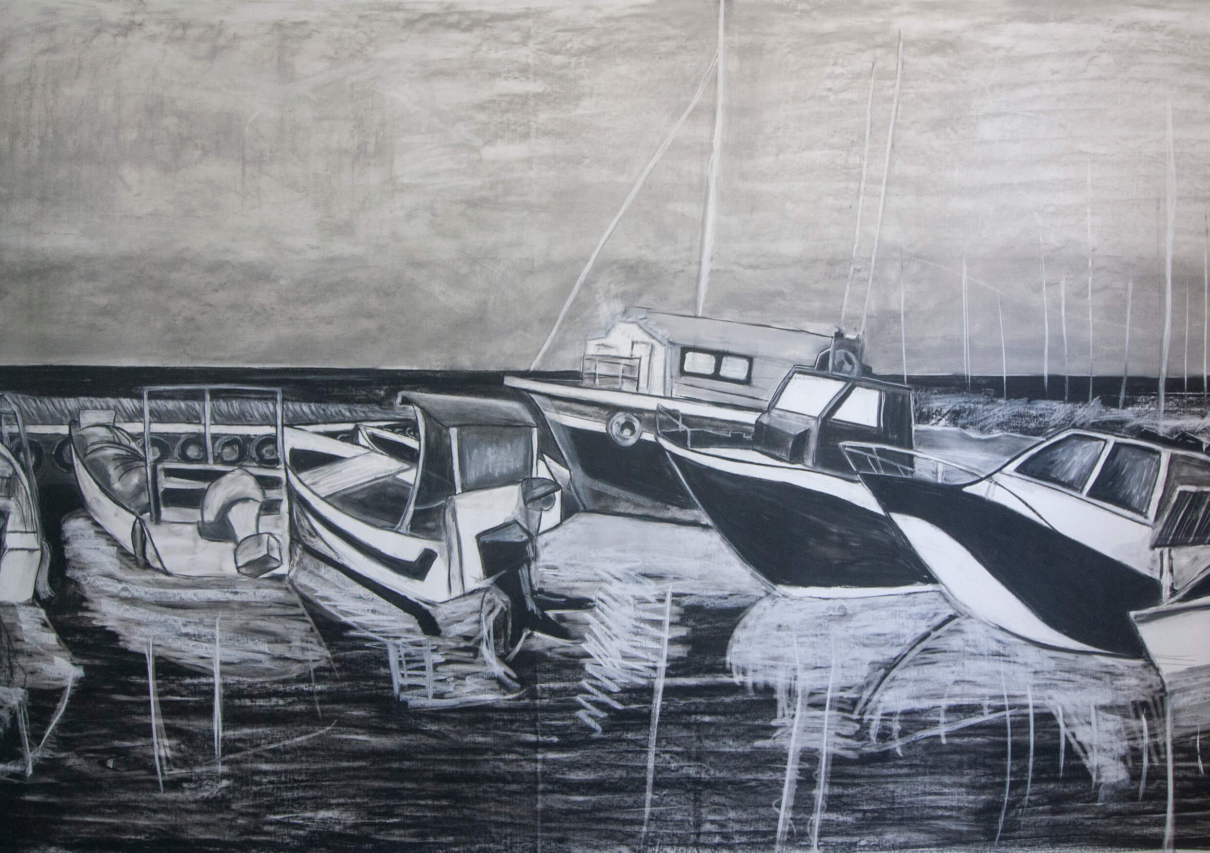 Port, Charcoal and chalk on paper, 150 X 250 cm