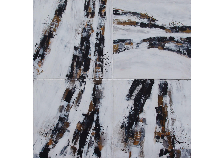 A unique eternal moment, Acrylic on canvas, 140 x 140 cm, 4 canvases