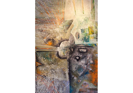 Impact, Acrylic and oil pencil on canvas, 150 x 100 cm