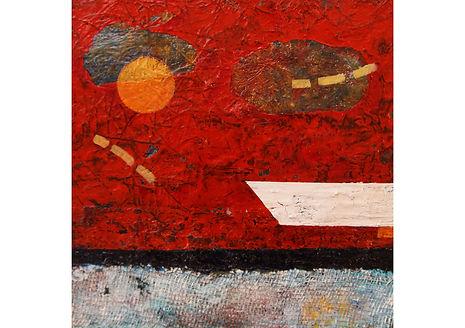 Orange Moon, Mixed media on canvas, 40 x 40 cm