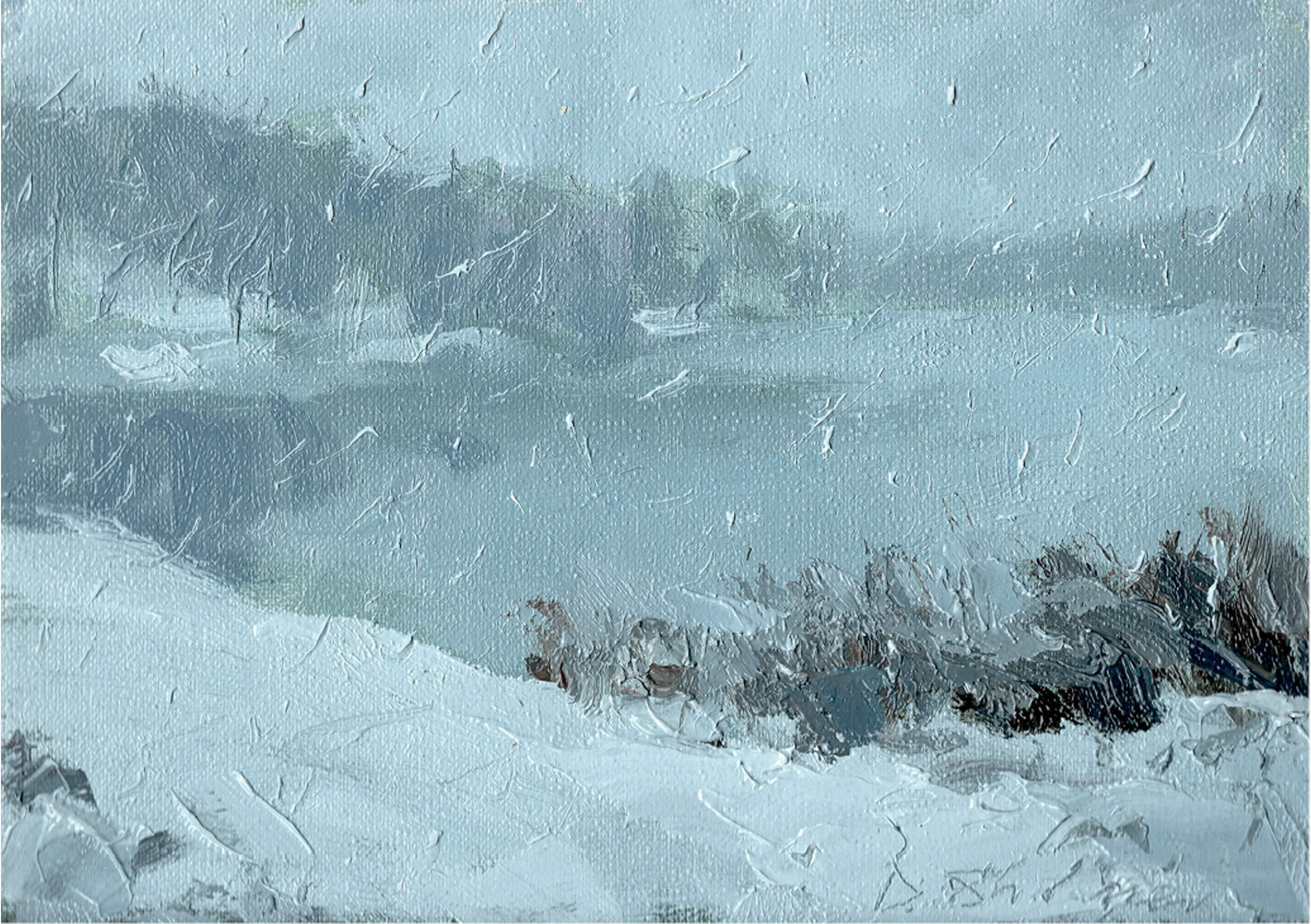 Let it snow, Oil on cardboard, 15.5 x 22 cm