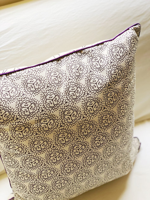 Tribe + Tiger Lily Pillow Cover with Grape Cord Trim