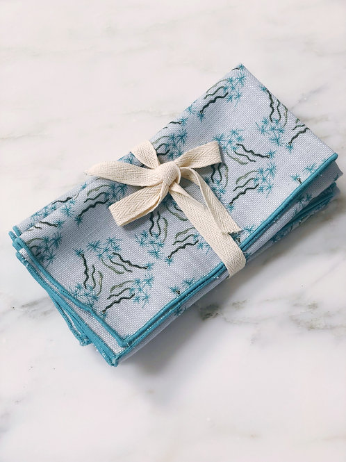 Napkin Set of Sea Spell in Blue on Blue