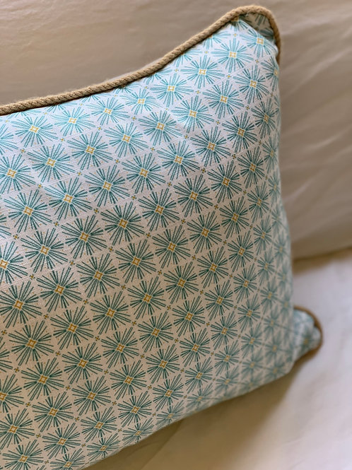 Stellar Pillow in Surf with Jute Trim