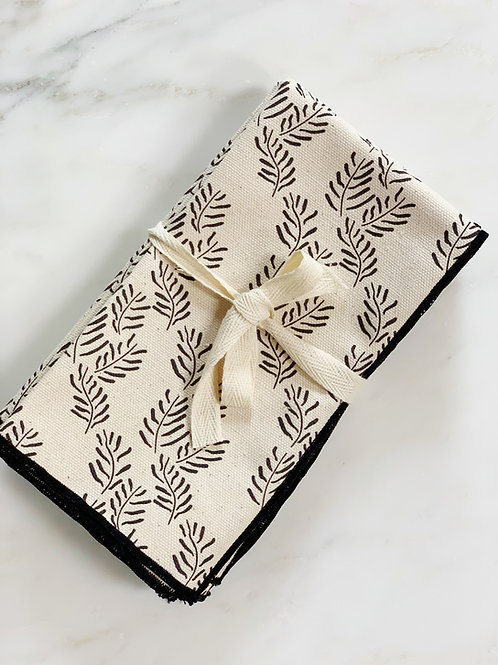 Napkin Set of Flora in Black on Natural