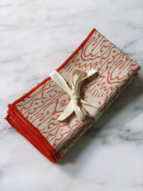 Napkin Set of Grande Tiger Lily in Tangerine on Natural