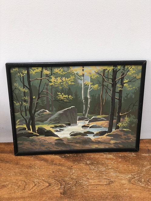 1950s PAINT BY NUMBER-FOREST SCENE