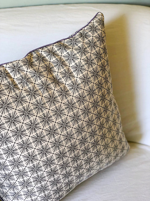 Carnivale + Stellar Pillow Cover with Lilac Cord Trim