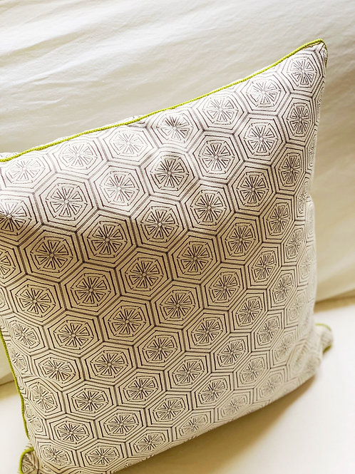 Squeeze Pillow with Lime Cord Trim