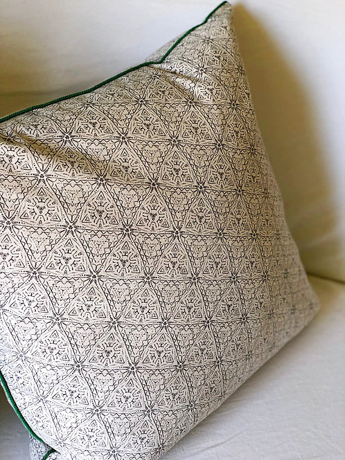 Quest Pillow Cover with Emerald Cord Trim