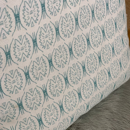 Petite Tribe Pillow in Teal on White
