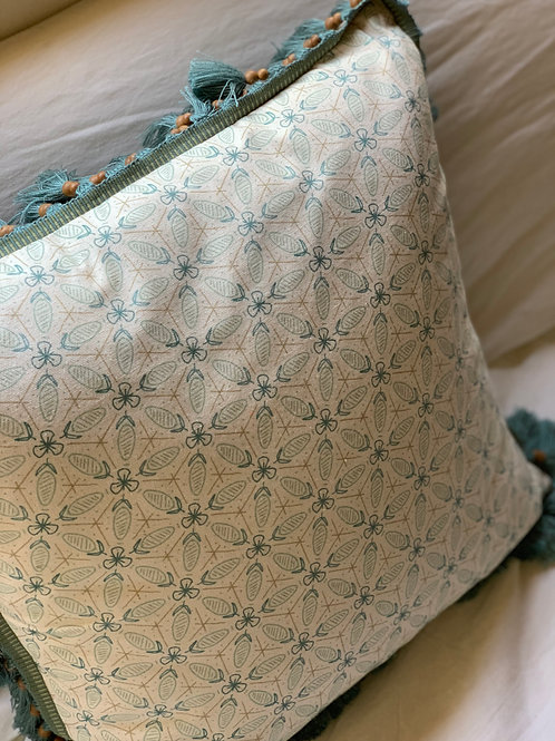 Carnivale Pillow in Robin's Egg on Natural with Seaglass Tassel Trim