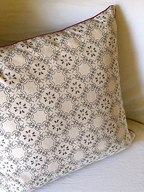 Bavel Pillow Cover with Guava Cord Trim