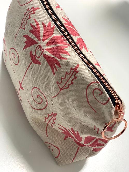 La Fleur in Guava Makeup Bag