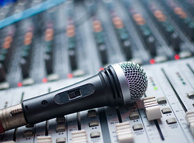 Microphone close-up on the sound mixer.j