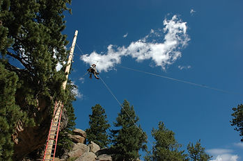 person just leaving zipline platform from the top of a large poll in front of whispy clouds and pine trees.